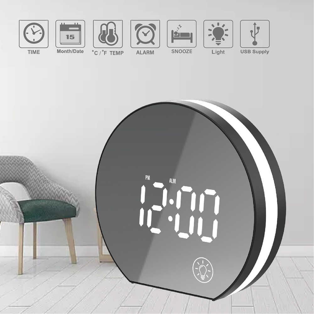 White Wake Up Light Alarm Clocks,Multifunctional Atmosphere Light Alarm Clock Dual USB Charging Port Music Wake-up Light Electronic Clock Bedside LED Light
