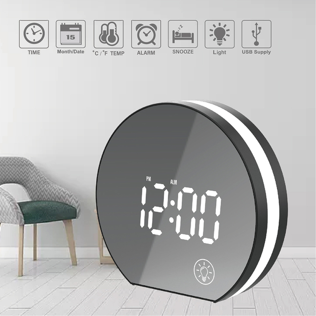 Electronic  USB LED  Mirror Table Alarm Clock Digital Bedroom Bedside Clock with  Light &Snooze & Temperature Modern Office Watc