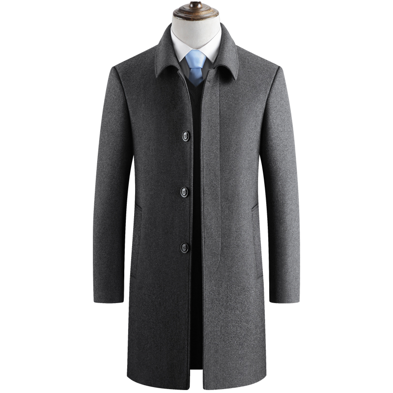 Men Wool Blends Coats Autumn Winter New Solid Color High Quality Men's Wool Jacket Long Coats for Men Luxurious Wool Blends Coat