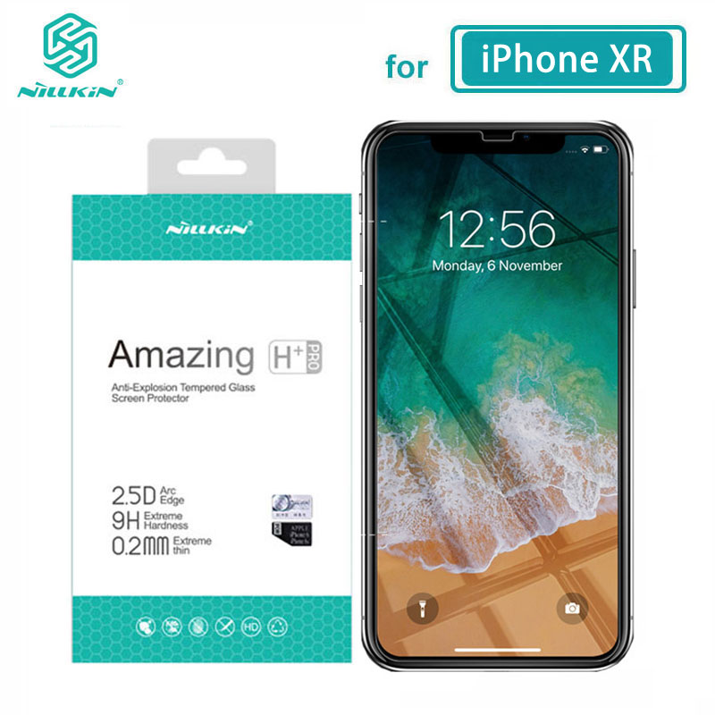 Nillkin vidro temperado para iphone 8 7 6 s plus x xs max xr incrível h + pro protetor de tela sfor iphone xr vidro