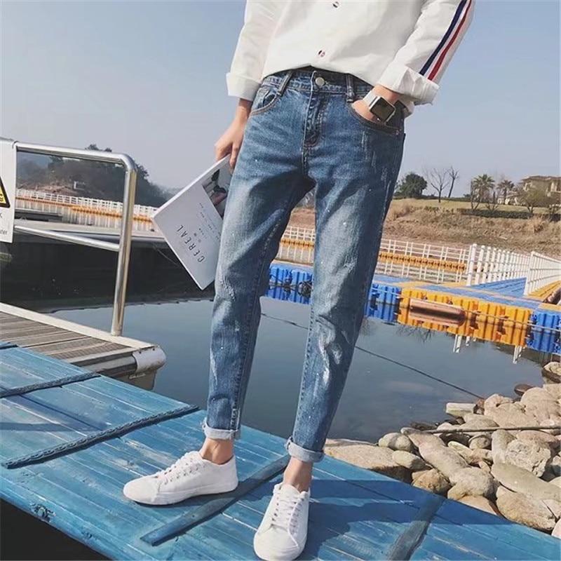 2018 New Style Men Cowboy Pants Autumn Slim Fit Pants Korean-style Trend With Holes Beggar Capri Pants Fashion