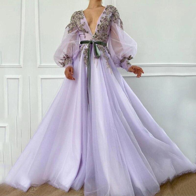 Eighale сексуальное вечернее платье с высоким v образным вырезом аппликации вышитые бисером Длинные рукава А силуэта Тюль формальный Дубай арабское платье выпускного вечера|Вечерние платья|   | АлиЭкспресс