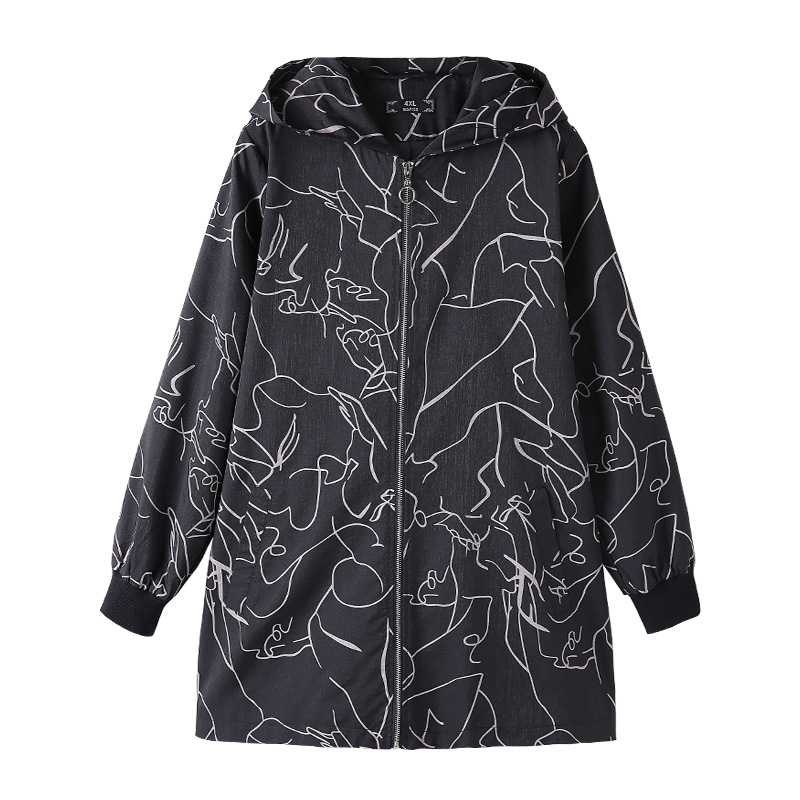2020 Plus Size 10XL-4XL Women Long Sleeves Spring Trench Coats Femme Print Fashion Windbreaker Hoodie Oversized Clothes Zipper