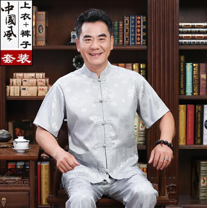 Middle-aged Tang Suit Men Buckle Blazer Short Sleeve Masculino Slik Casaco Jaqueta Masculina Coats Mens Jacket Chinese Style