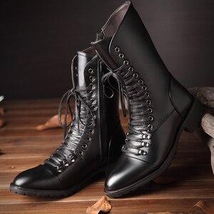 Image 3 - Thương hiệu Ý thiết kế nhà cao cấp thời trang Giày cổ cao da thật chính hãng Da Giày buộc dây thu đông dài Boot zapatos de hombre bota masculina