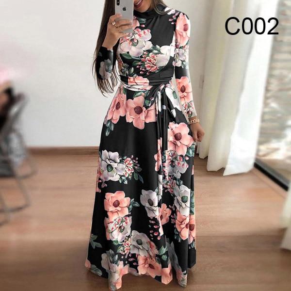 Plus size women's summer long super long dress 2020 casual long sleeve flower print dress casual high collar bandage Vestidos 12