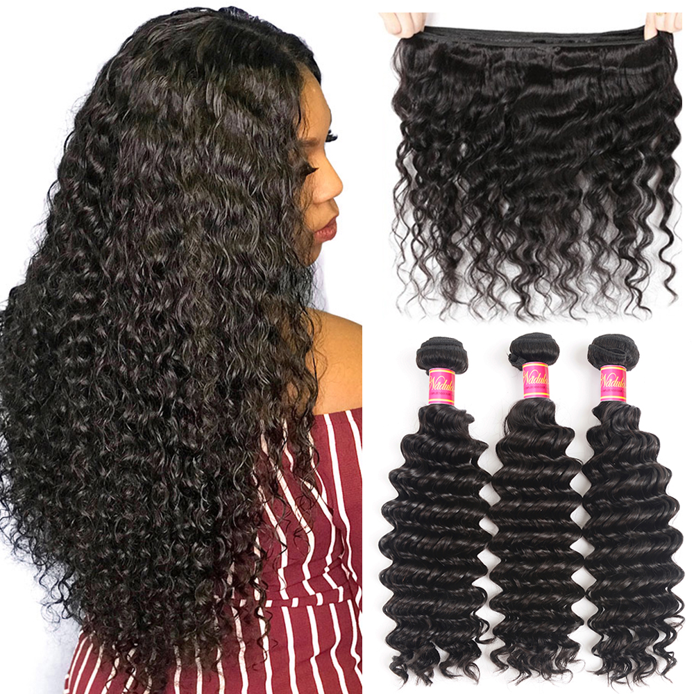 Nadula Hair 3Bundles/4Pcs Deep Wave  s 12-26inch  Hair Bundles Natural Color   1