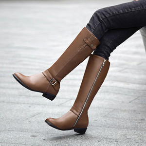 YMECHIC Winter Mid Long Chunky Heels Buckle Knight Winter Boots Women Black Brown Side Ziper Tall Botas Female Shoes Big Size(China)