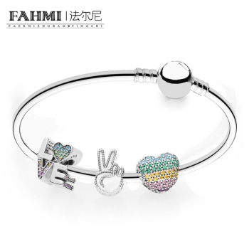 2020 100% 925 Silver Genuine Charm Love the Rainbow Bracelet Set Original Women Jewelry Factory direct RAU0462