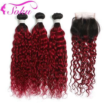 Water Wave Hair Bundles With Closure SOKU T1B/BURG Brazilian Ombre Human Hair Bundles With Lace Closure Non-Remy Hair Extension