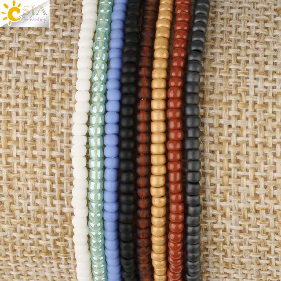 CSJA Trendy Japan Bracelets Toho Beaded Bead Miyuki Bracelet for Women Round Beads Adjustable Tassel Charms Pulsera Jewelry S499