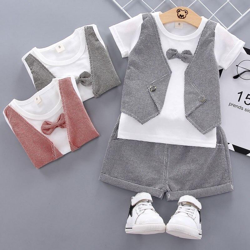 Zomer Peuter Baby Jongens Gentleman Boog T-shirt Tops Shorts Broek Outfits Kleding Set Outfits Baby Baby jongens