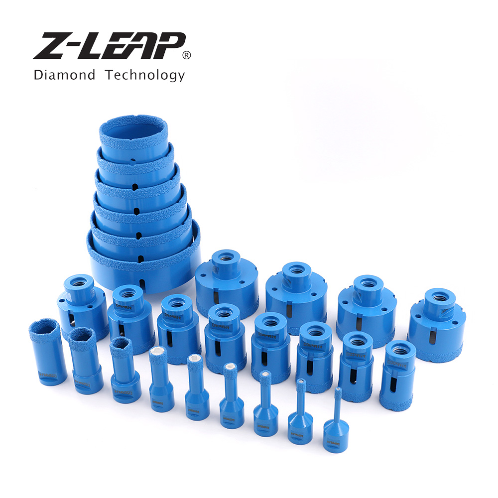 Z-LEAP Diamond Vacuum Brazed Drilling Core Bits Granite Marble Ceramic Hole Saw M14 Thread For Angle Grinder Drilling Reaming