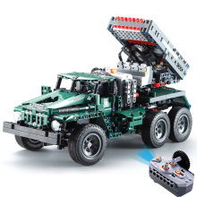 цена на 1369pcs BM-21 Rocket Launcher Technic Series RC Car Building Blocks Radio Remote Control Military Rocket Truck Toys For Children