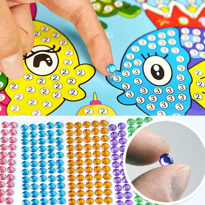 Children Diamond Stickers Creative DIY Handmade Painting Cartoon Diamond Sticker Toys Kit Kids Educational Puzzle Stickers Toys