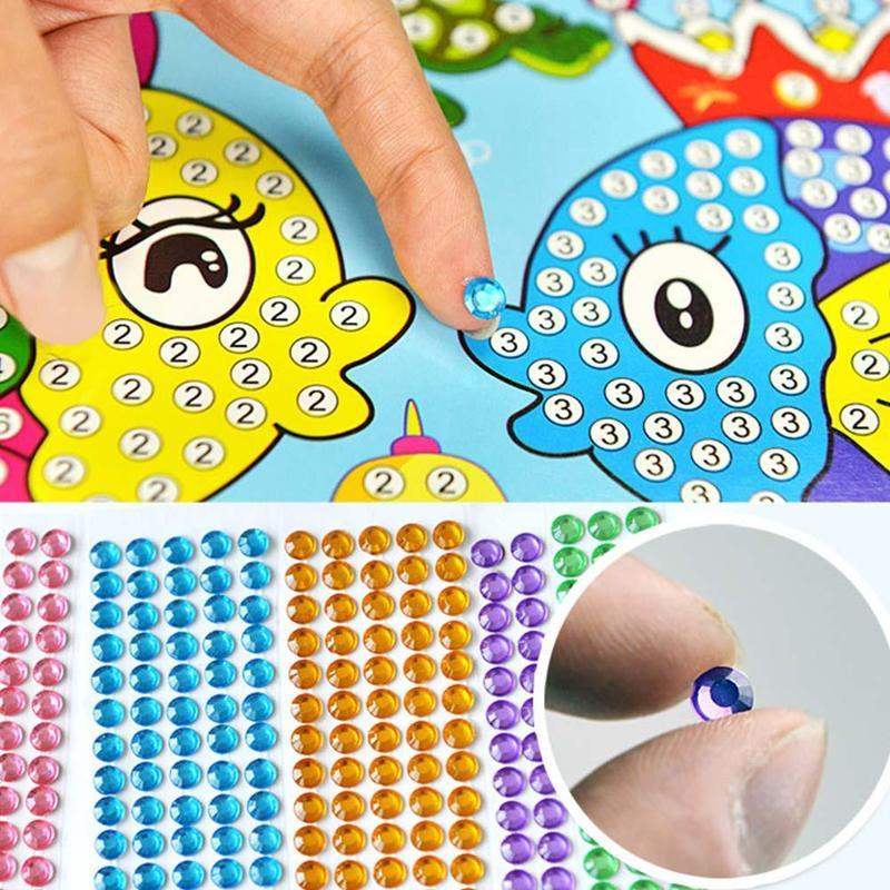 Children Diamond Stickers Creative DIY Handmade Painting Cartoon Diamond Sticker Toys Kit Kids Educational Puzzle Stickers Toys