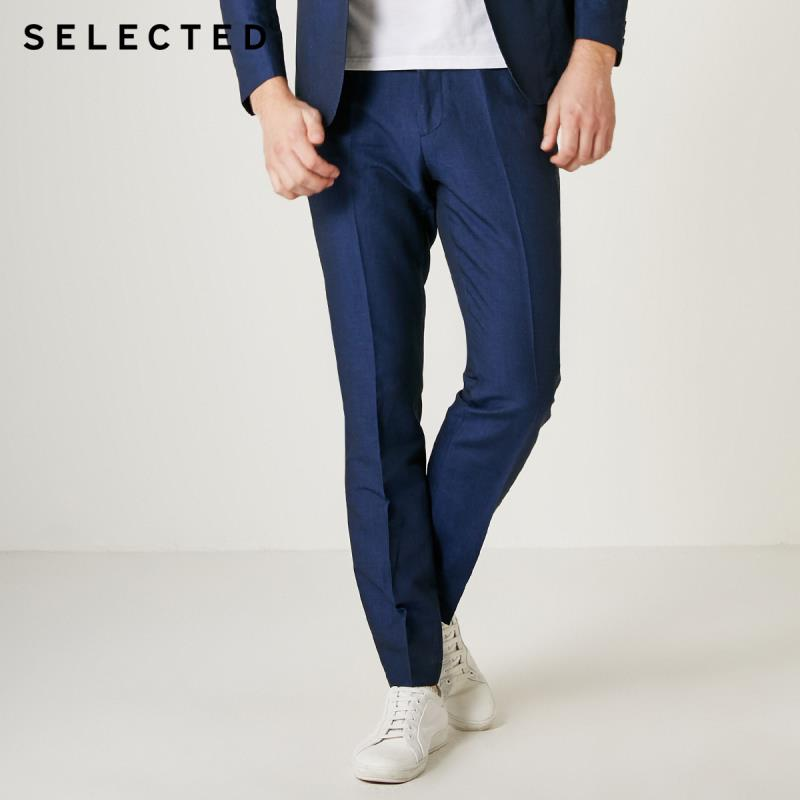 SELECTED Men Slim Fit Pure Color Cotton & Linen Blending Suit Pants S|419218507