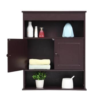 Two-door Bathroom Cabinet with Upper and Lower Layers Brown  Two compartments, bathroom furniture,wall cabinet, storage cabinet.