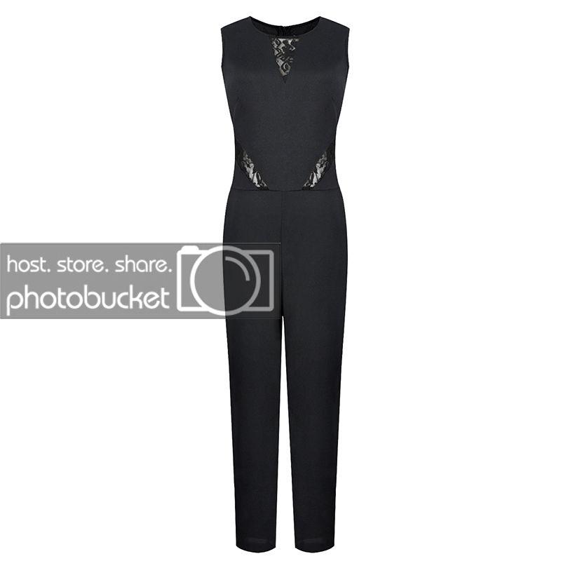 Womens Evening Party Playsuits Ladies Lace Long Black Jumpsuit Size 6-14