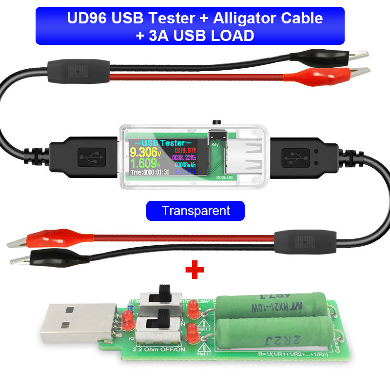 U96 USB Tester DC Digital Voltmeter Amperimetro Power Bank Charger Indicator Voltage Current Meter Detector+ Load+alligator