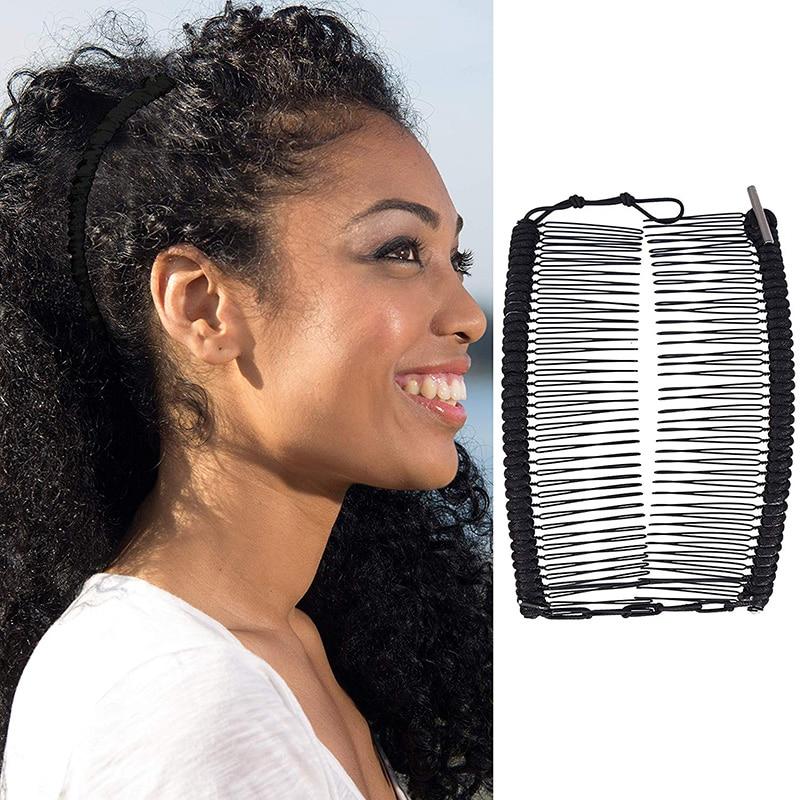 Эластичная двухсторонняя Женская расческа для волос с зажимом в виде банана, простой толстый инструмент для укладки волос, приспособление ...