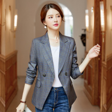High quality temperament ladies blazer Summer office suit jacket womens Interview plaid 2019 new large size