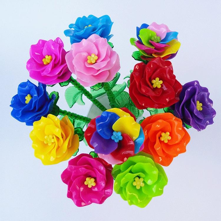 Dual Handle Leaves DIY Rose Leaves Receptacle Accessories Leaf Peony Model Crystal Rose
