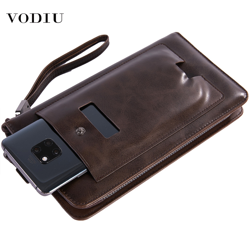 Wallet Male Fashion Brand Long Multi-function Slim Business Card Phone Purses Clamp For Money Large Capacity Leather Men Wallets