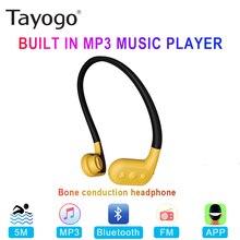 Tayogo W02 שחייה הולכה עצם אוזניות Bluetooth אוזניות Handfree Handphone עם FM Pedo מד IPX8 עמיד למים MP3 נגן