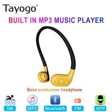 Tayogo W02 ว่ายน้ำ Bone conduction หูฟังบลูทูธชุดหูฟังแฮนด์ฟรีโทรศัพท์มือถือ FM Pedo Meter IPX8 กันน้ำ MP3 ผู้เล่น