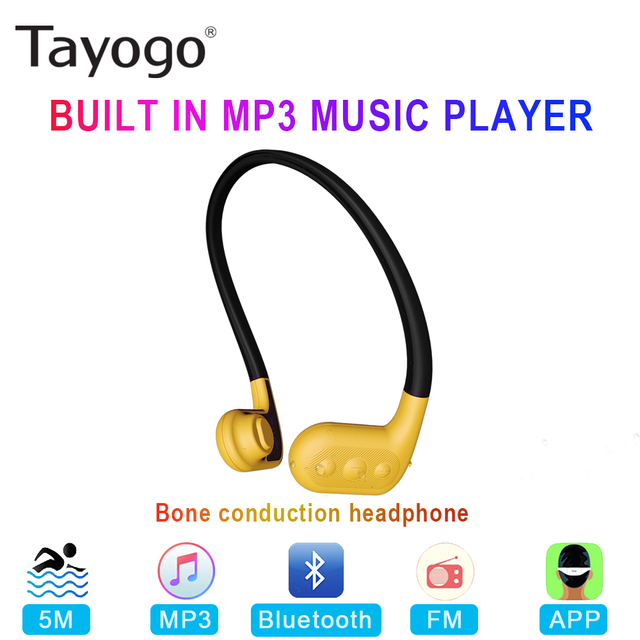 Tayogo W02 Nuoto conduzione Ossea Cuffie Auricolare Bluetooth Mani Libere Lettore Handphone con FM Pedo Meter IPX8 Impermeabile MP3