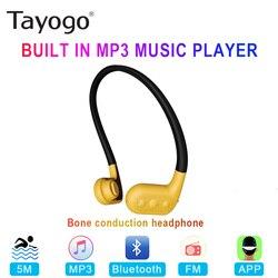 Tayogo W02 Swimming Bone conduction Headphone Bluetooth Headset Handfree Handphone with FM Pedo Meter IPX8 Waterproof MP3 Player