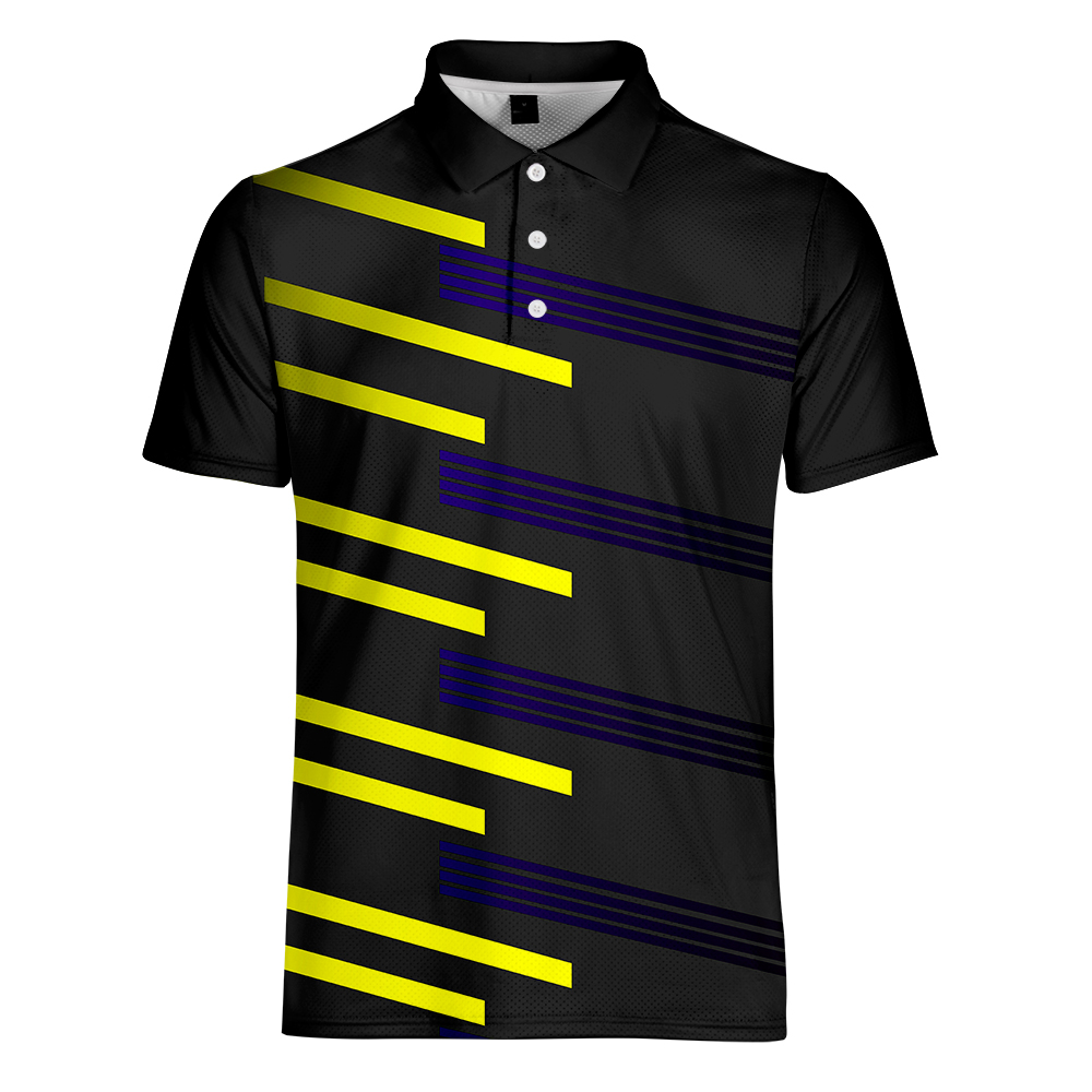 WAMNI Men Polo Shirt 2019 Business Casual Turn down Collar Breathable Striped Gradient Short Sleeve Loose Polo Shirt Sport Work in Polo from Men 39 s Clothing