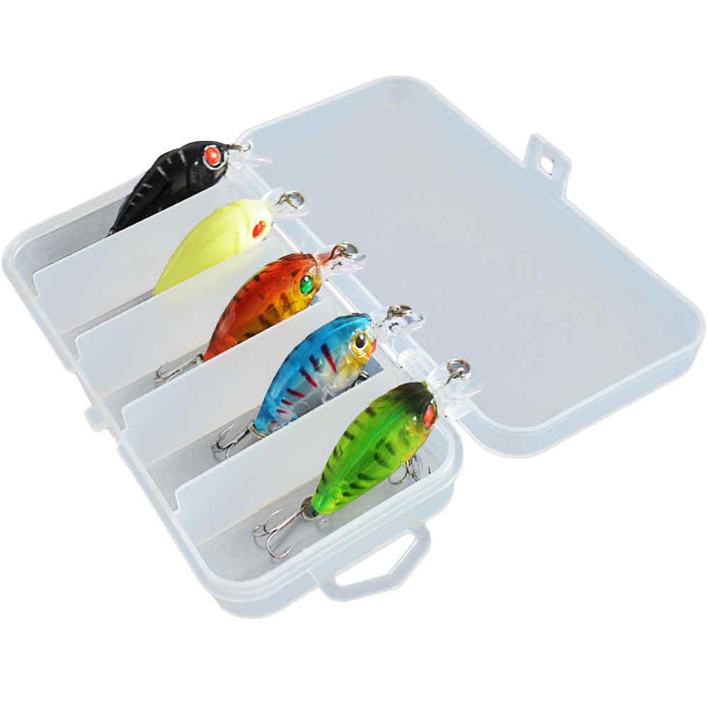 5x Señuelos de Pesca Minnow Bass Crankbait anzuelos aparejos anzuelos de manivela + caja de pesca
