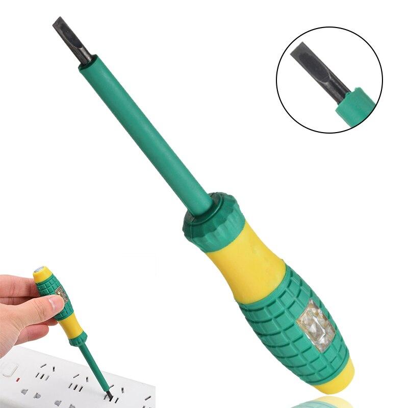 Mayitr amarelo verde caneta testador elétrico 220 v chave de fenda detector de energia sonda indústria teste tensão caneta diâmetro 4mm