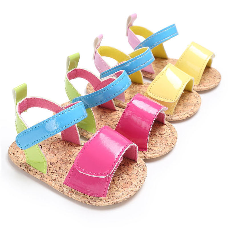 Baby Girl Sandals PU Anti-Slip Flat With Pink Rubber Sole Summer Princess Party Dress Newborn Toddler Baby First Walkers Shoes