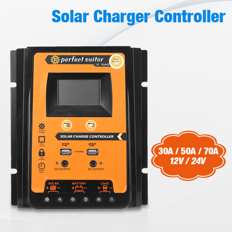 Best Solar Controller 12V 24V 30A 50A 70A Solar Charge controller IP 32 Waterproof Panel Battery Regulator Dual USB LCD Display