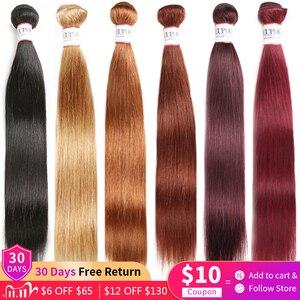 Image 1 - Düz saç demetleri anlaşma 1/3 adet 99J kırmızı Burg 4 doğal renk brezilyalı Remy insan saç uzatma demetleri saç dokuma Euphoria