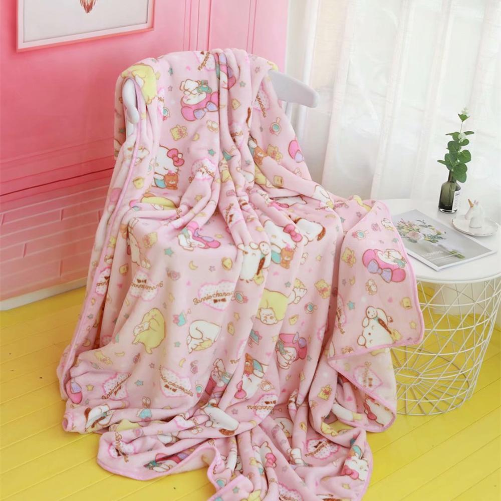 Pink Flannel Blanket Pink Girl Japan Cartoon Bedroom Sofa Blanket Comfortable Warm Flannel Blanket Travel Cover Blanket Gifts