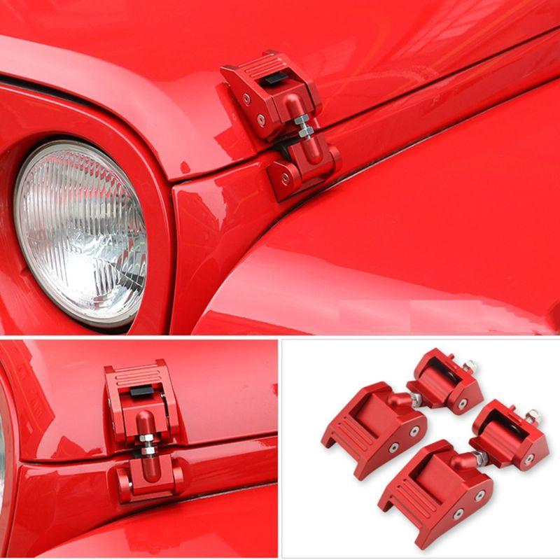 Metallo Cofano Motore Fermo di Blocco Cattura Kit per Jeep Wrangler JK Illimitato Rubicon 2008-2017 Nero/Oro/ rosso
