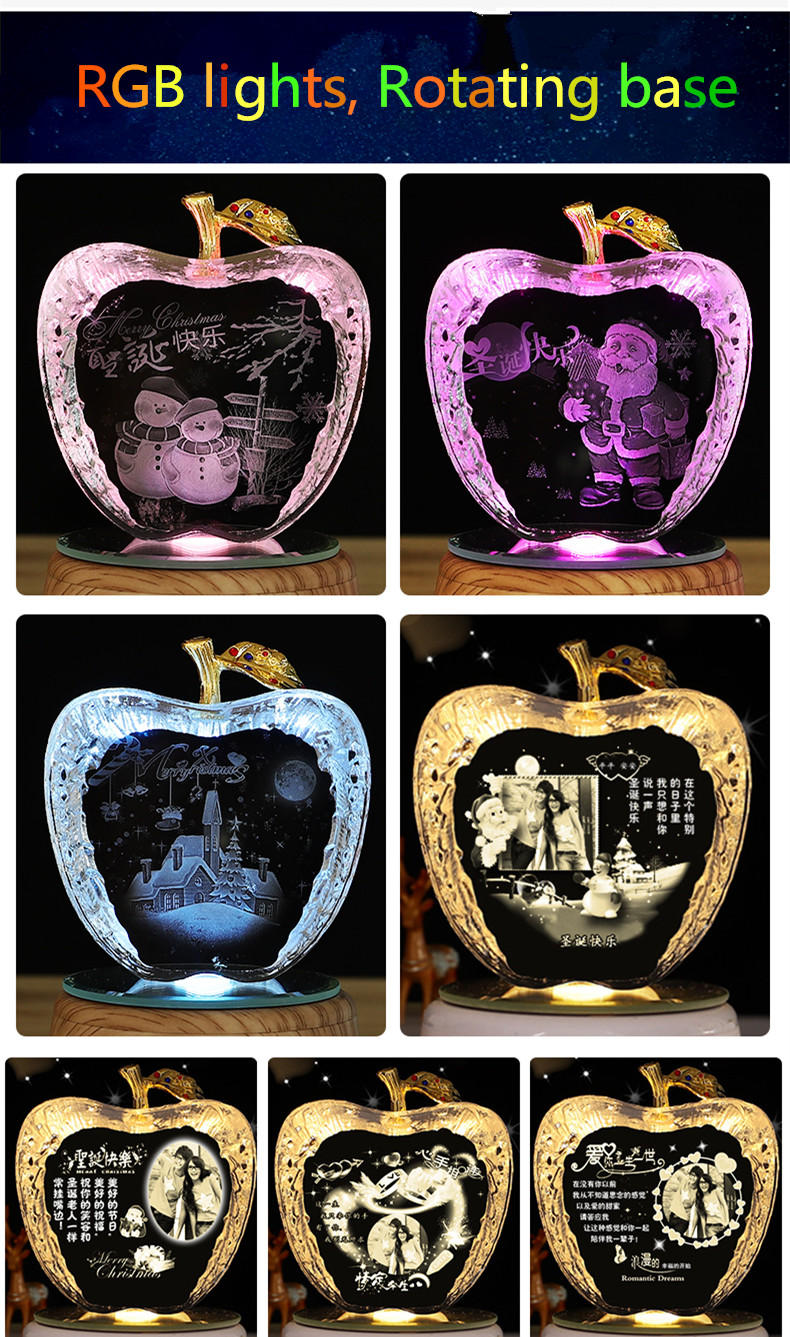 UNTCENT Christmas Gift Night Light Engraved crystal photo Rotating Music Box for Birthday Wedding