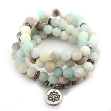 Fashion Women`s Matte Amazonite 108 Mala Beads Bracelet or Necklace High Quality Lotus Charm New Design Yogi