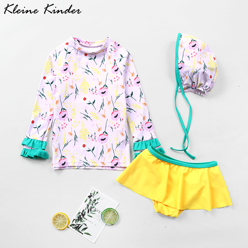 Swimwear Kids 3 Pieces Long Sleeve Child Bathing Suit Girl UPF50 Sun Protection Children Swimming Suit Girls Summer Beach Wear
