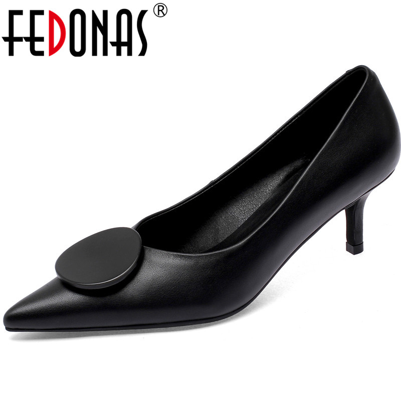 FEDONAS New Arrival Women Point Toe Party Prom Shoes Spring Summer Elegant Brand Shoes Office Lady Genuine Leather Shoes Woman