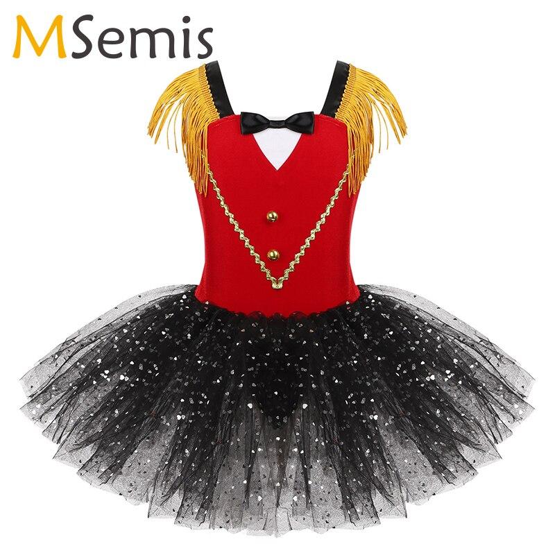 Girls Sequins Tutu Ballet Dance Costume Gymnastics Leotards Halloween Circus Ringmaster Sleeveless Tassel Bowtie Sweetheart Foil