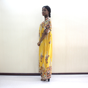 Image 3 - 2019 Newest Arrivals Fashion African Dashiki Gold Pure Cotton Flower Print Plus Size Casual Women Dress With Scarf