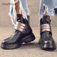 cool young women heavy metal style ankle boots luxury top layer genuine leather cowhide platform sneaker booties winter shoes