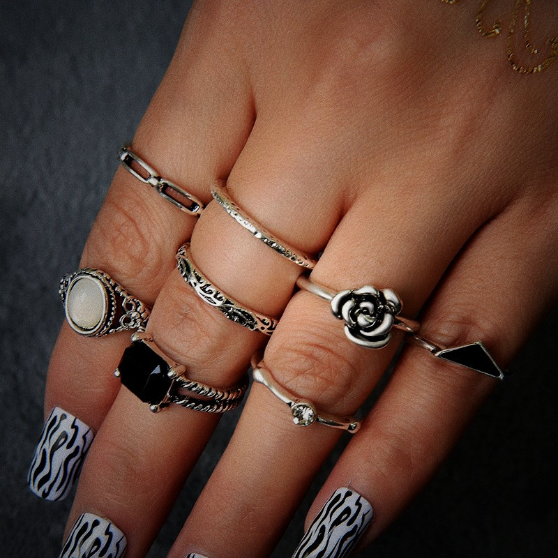 NJ Democracy wind ring female retro hipster personality ring ring 8 piece set accessories image