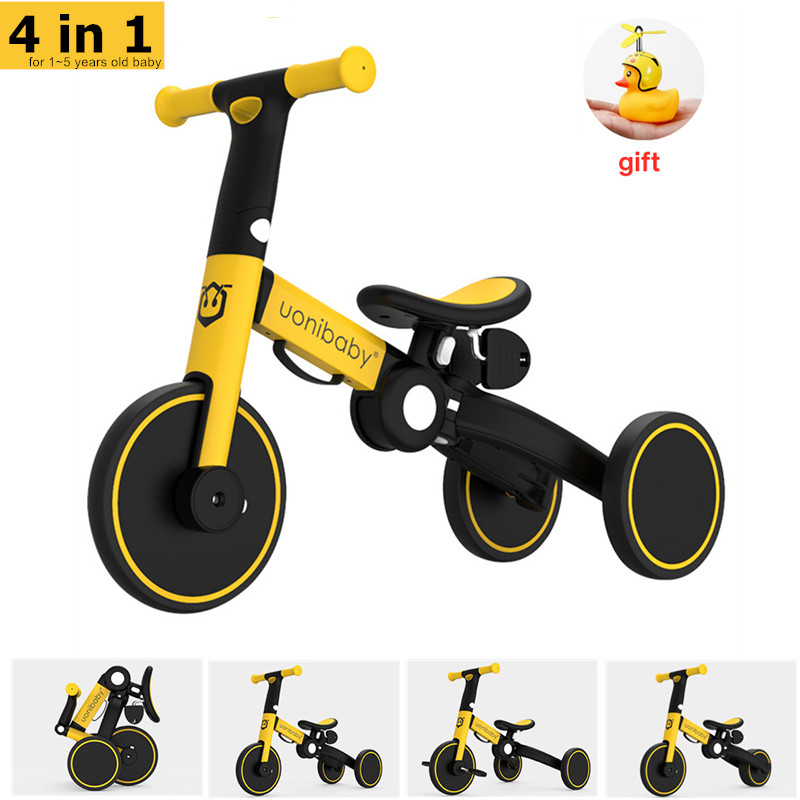 Original Uonibaby 4 Into 1 Baby Tricycle Stroller Kids Pedal Trike Two Wheel Balance Bike Scooter Trolley For 1-6 Years Old