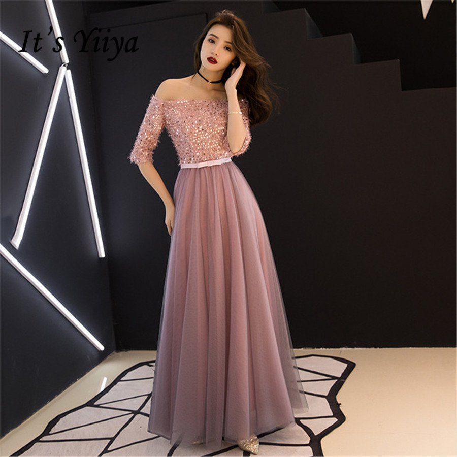 It's Yiiya Evening Dresses Sequins Shining Boat Neck Short Sleeve Dress Women Party Night Elegant Plus Size Robe De Soiree E1317